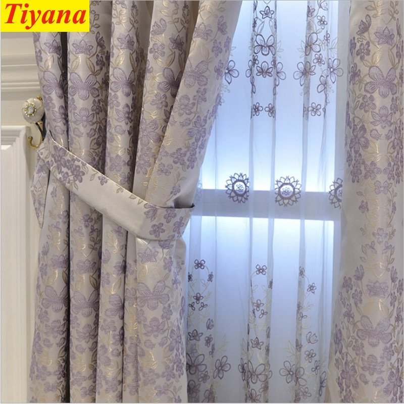 Purple And Gray Living Room: Modern Purple Grey Screening Window Curtains Cloth Voile