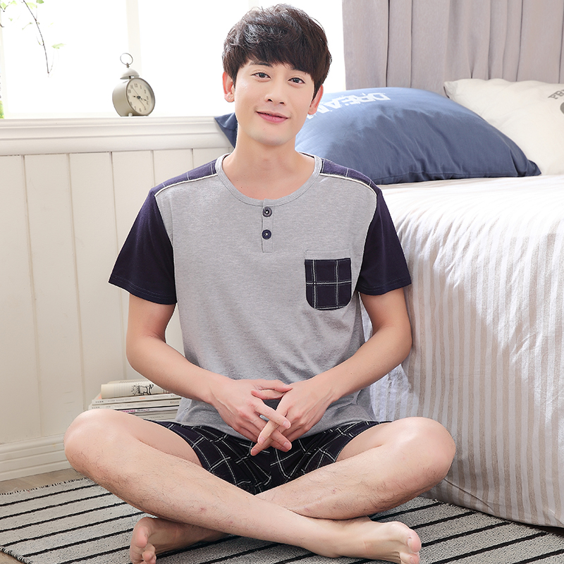 Men Pajama Sets Short Sleeve O-Neck Sleepwear 2018 New Mens 100% Cotton Pyjama Free Ship ...