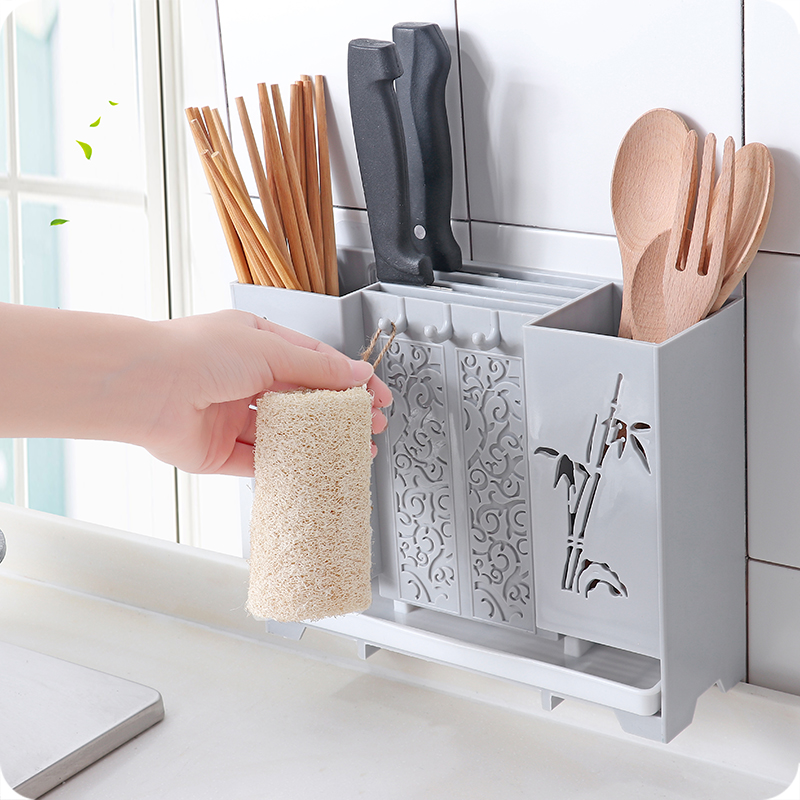 Wall-mounted Soon Storage Rack Kitchen Knife Holder Household Plastic Chopsticks Case
