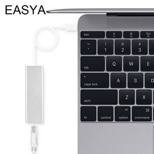 EASYA USB Type C With Ethernet Network LAN Adapter Super Speed USB 3.0 HUB 3 Ports For Macbook USB-C Type-C Ethernet