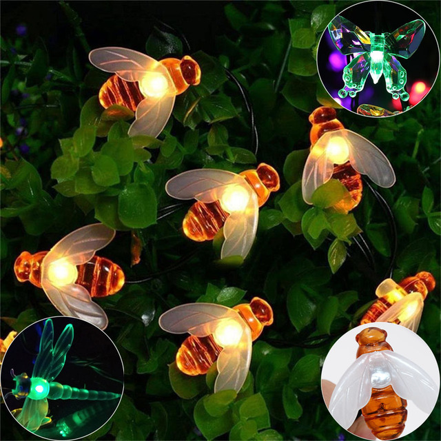 HANMIAO 20/30  Solar LED String Light outdoor Dragonfly Bee Christmas Lights Waterproof Led Garland For Garden Yard Tree Fence