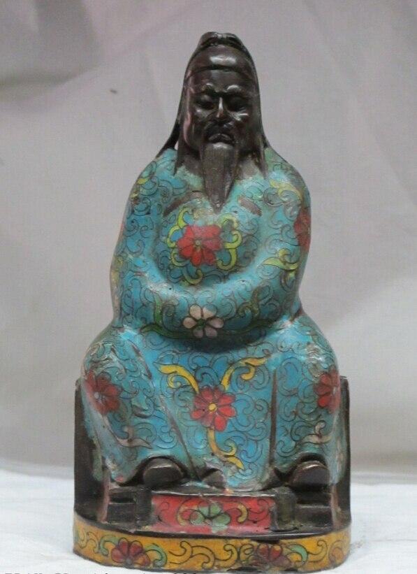 Bi002098 7 Китайский Бронзовый перегородчатая эмаль синий одежда Лотос Pier Гуань Гун статуя