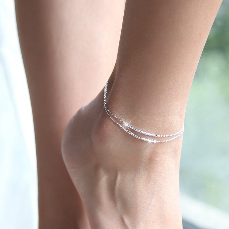 Fashion 925 Sterling Silver 2 layer Anklets Women Charm Brand Jewelry Free Shipping SA055