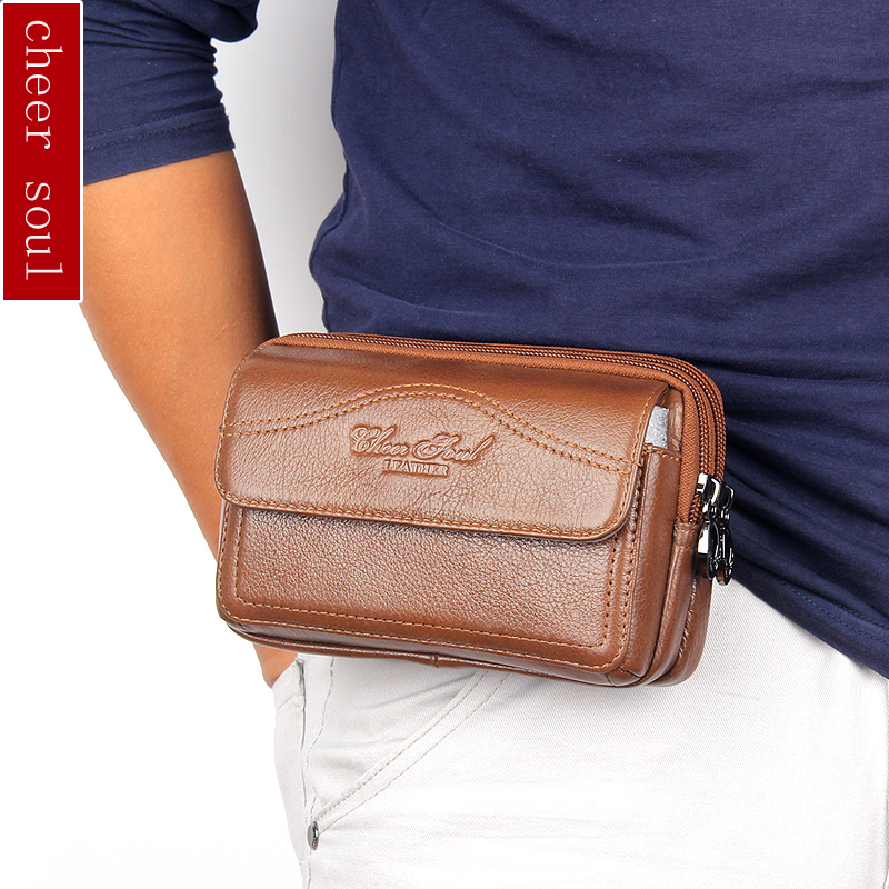 CHEER SOUL Genuine Leather belt Fanny Waist Bags for men Cell/Mobile Phone Coin Purse Belt Bum Pocket Pouch hip waist Pack 8872 men vintage crazy horse genuine leather fanny waist pack bag mobile phone case coin purse belt hip bum messenger shoulder bags