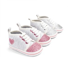 Shiny Heart Shape Baby Girl Shoes Newborn Cotton First Walkers Soft Bottom Baby