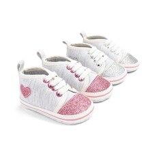 Shiny Heart Shape Baby Girl Shoes Newborn Cotton First Walke