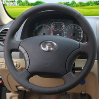 Shining wheat Hand stitched Black Leather Steering Wheel Cover for for Great Wall Haval Hover H3 H5 Wingle 3 Wingle 5