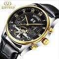 2017 Luxury Brand KINYUED Tourbillon Automatic Mechanical Watch Men Waterproof Luminous Watch Calendar Leather Wrist Watches Gol