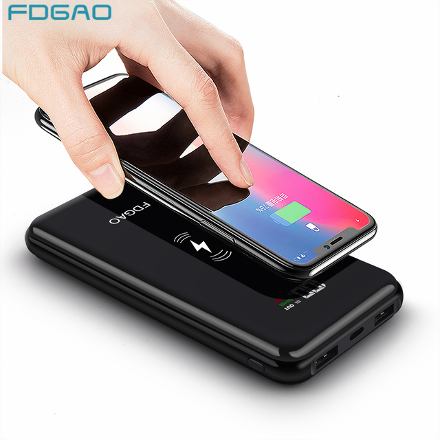 a8cf749b3cf477 Fdgao Wireless Charger Power Bank 20000mAh For iPhone XS Max X 8 Plus  Samsung S8 S9 Note 9 Xiaomi Qi Wireless Fast Charging Pad