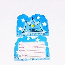 187cdd825 10 piezas princesa babyboy corona tema Feliz cumpleaños decoración de la  fiesta tarjeta de invitación para los niños favores