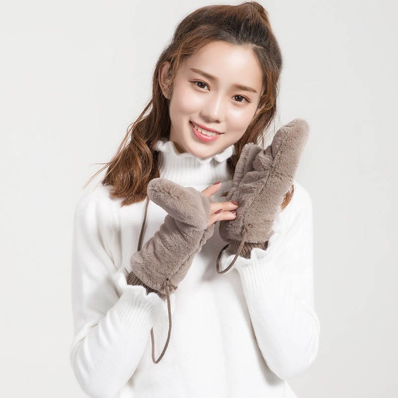 Fashion Solid Clamshell Fingerless Winter Gloves Women Warm Dehair Angora Inside Coral Fleece Thick Mittens For Women Female