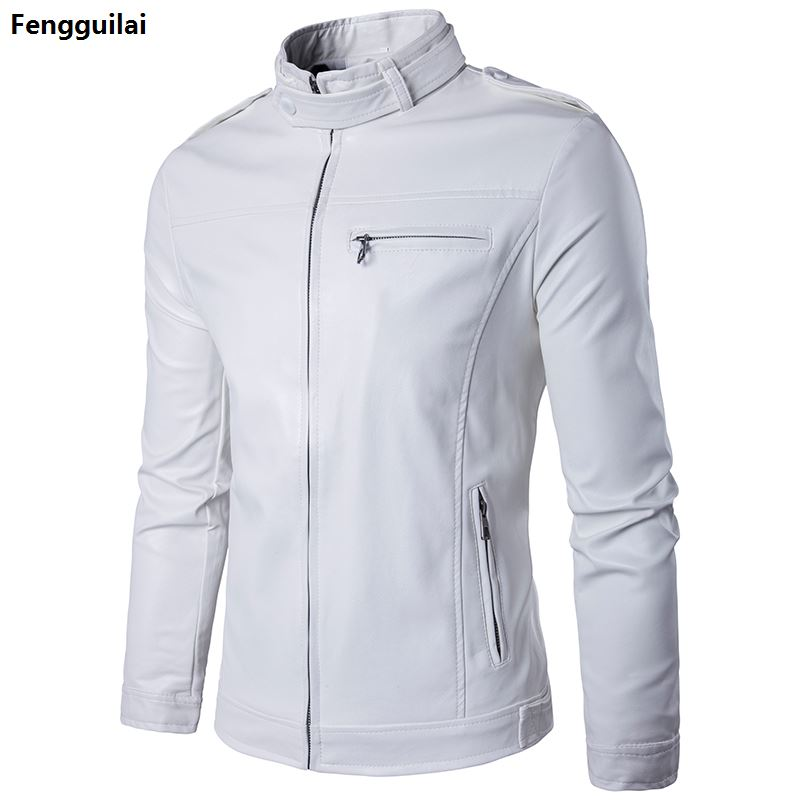 Hot Sale Brand White Pu Leather Jacket Men 2018 Winter Motorcycle