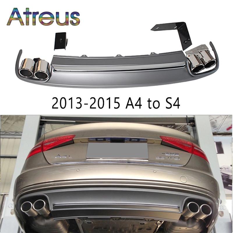1 компл. A4 для S4 Стиль серый pp заднего бампера Диффузор спойлер с выхлопных труб для Audi A4 B8 b9 Интимные аксессуары 2009 2012 2013 2015