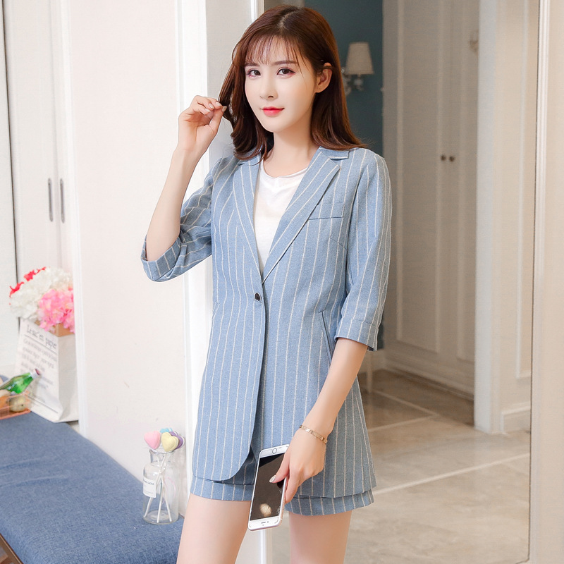 Set female 2019 spring and summer new sleeves suit nine pants two sets of temperament fashion stripes Slim women's clothing