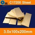 3*100*200mm Beryllium Bronze Blatt Platte von C17200 CuBe2 CB101 TOCT BPB2 Form Material Laserschneiden NC Kostenloser Versand-in Schleifmittel aus Werkzeug bei