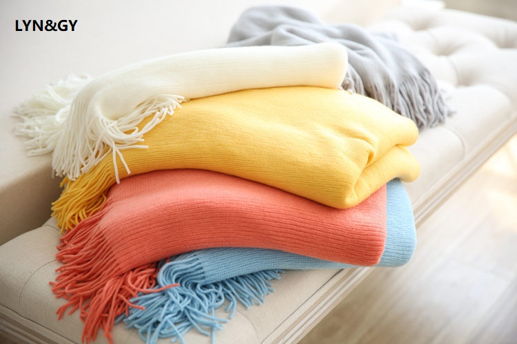 New USA Style Cashmere Like Knitted Throw Blanket with tassel Shawl scarf Bed Sofa Cover Solid