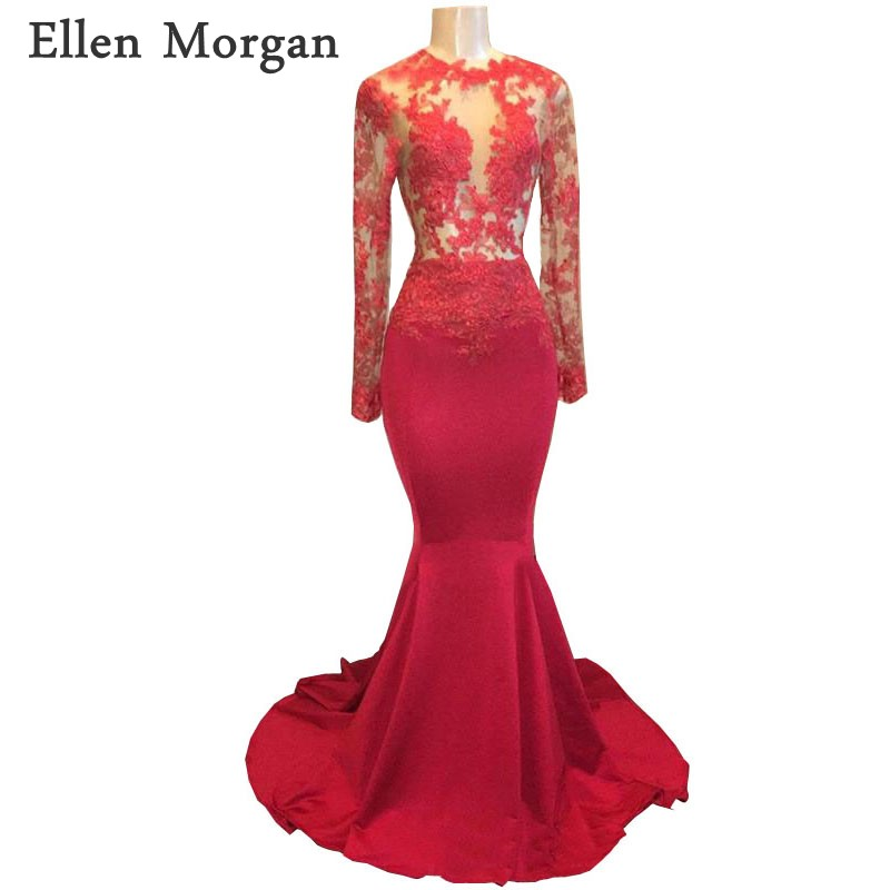 Long Sleeves Mermaid Red Satin   Prom     Dresses   2019 for African Black Girls Lace See Through Vestido De Festa for Party Gowns