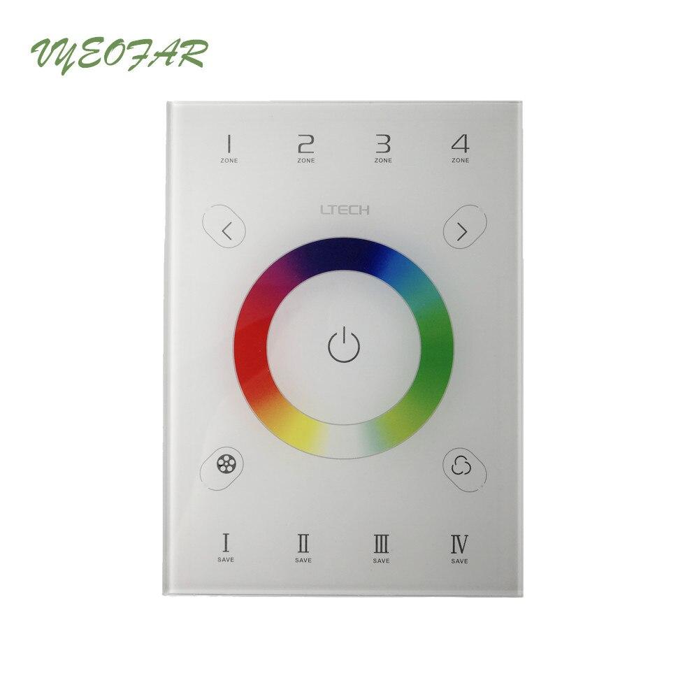Новый UX7 Led RGB контроллер 2,4 ГГц РЧ пульт дистанционного управления беспроводной DMX512 4 зоны стекло Сенсорная панель контроллер 4 зоны 5050 3528 RGB п...