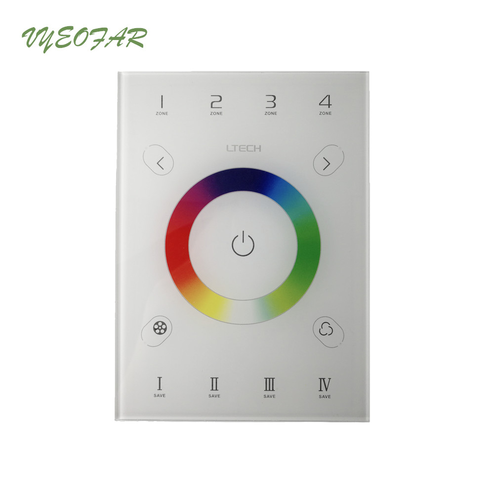 Ltech UX7 Led RGB Controller 2.4GHz RF Remote wireless DMX512 4 Zone Glass Touch Panel Controller 4 Zone 5050 3528 RGB Strip 1pcs remote 4x rgb controller 2 4g 4 zone wireless rf rgb controller dimmer touch remote for rgb led strip