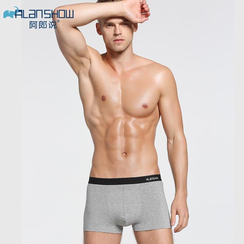 ALANSHOW Mens Underwear Soft Spandex Boxers Cotton Boxer Men Solid Boxer Shorts Plus Size Boxers Breath  Mens Underwear