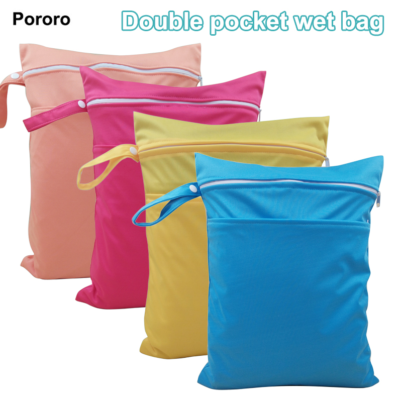 Double Pockets Waterproof Portable Multi-functional Baby Diaper Bags, Plain Color Wet Dry Nappy Bags With Zipper Closure