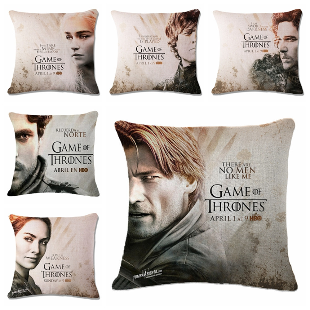 18 Square Game of Thrones Printed Vintage Cotton Linen Cushion Cover Bed Pillowcases Throw Pillow Covers Decoration Customized