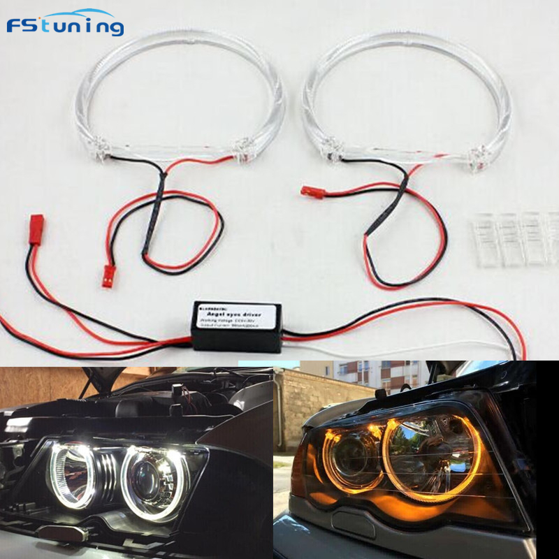 FSTUNING SMD LED avec CREES LED 4*131 MM pour BMW E46 Angel eyes E38 E36 anneau de phare LED de projecteur pour BMW E36 angel eyes