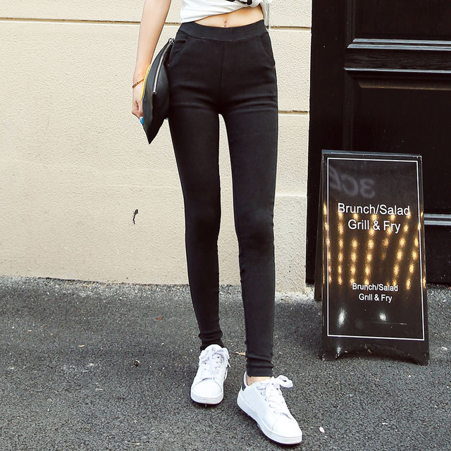 New Fashion Womens Jeans Leggings Sand Wash Elastic Denim Pencil Pants Pocket High Waist Jeans Women Slim Skinny Jean Femme