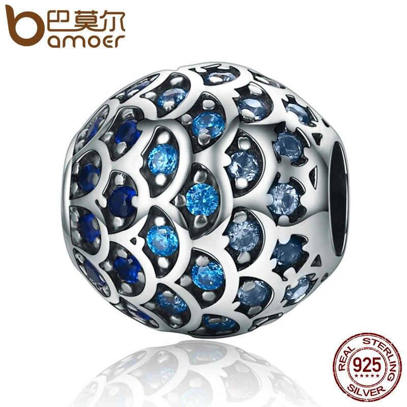 BAMOER Authentique 925 Sterling Argent Fille De Mer Changement Progressif Bleu Échelles Perles fit Bracelets Bijoux Cadeau SCC169