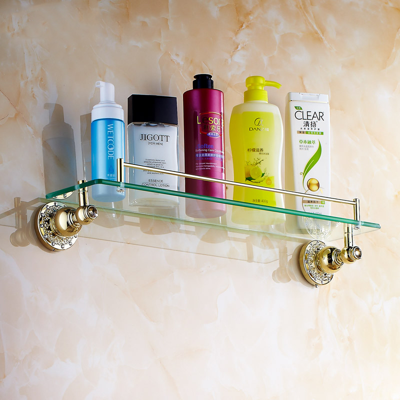 New luxury Bathroom Accessories crystal Brass Golden Finish With Tempered Glass Single Glass Shelf bathroom shelf