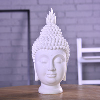 Buddha Head Buddhism Statues Sandstone Art Sculpture Resin Art&Craft Southeast Asian Buddhist Decoration L3350