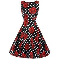 Sisjuly Vintage 1950s 60s Dresses Summer Red Women Floral Print Polka Dots Ball Dress O Neck