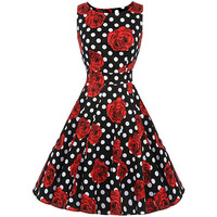 Sisjuly Vintage 1950s 60s Dresses Summer Red Women Floral Print Polka Dots Ball Dress O Neck