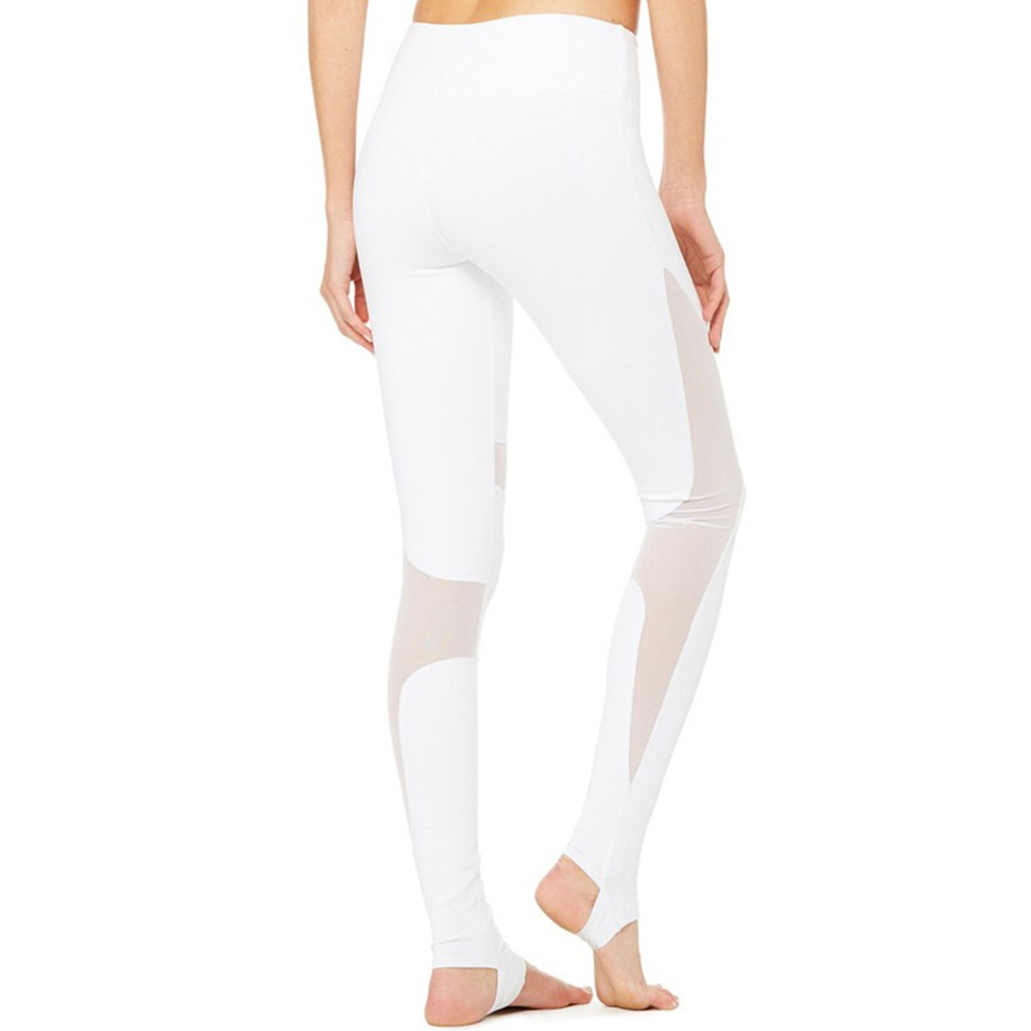 1b8804fbf0 JNC Women Stirrup Yoga Pants White Mesh Fitness Leggings High Elastic  Sports Leggings High Waist Contrast