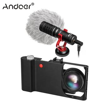 Andoer Smartphone Video Rig+Wide Angle Macro Lens+Phone Filming Cage Stabilizer for iPhone Samsung Huawei Stabilizer Video Rig
