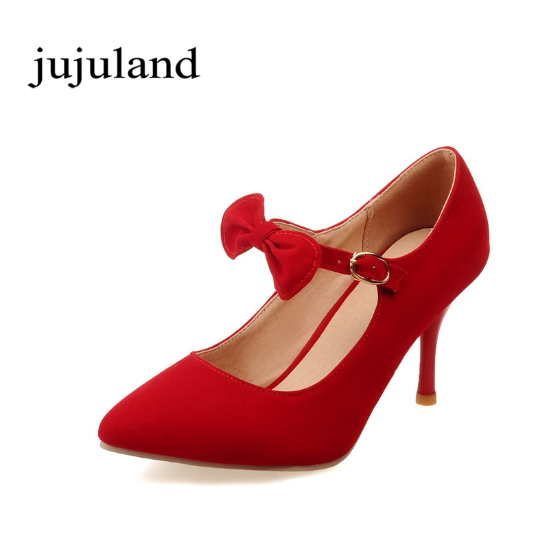 Spring/Autumn Women Shoes Pumps Mary Janes Fashion Casual Thin Heels High Heel Pointed Toe Shallow Slip-On Flock Butterfly-knot new flock high big size 11 12 women shoes wedges pointed toe woman ladies butterfly knot casual spring autumn sweet single shoes