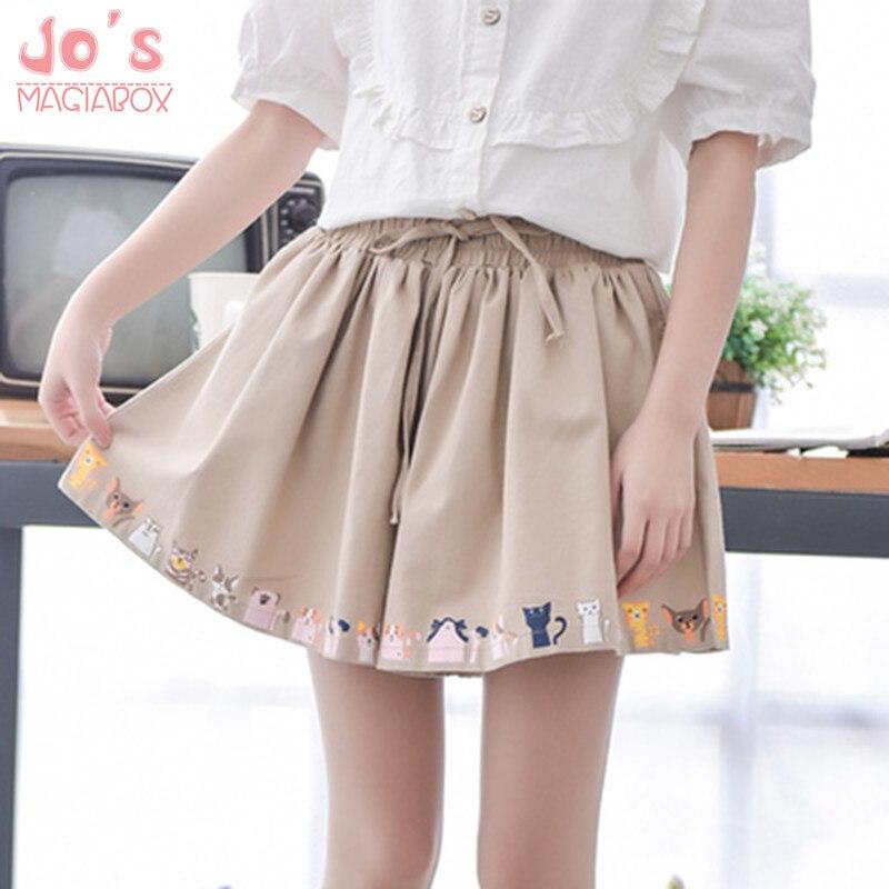 2018 Women   Short   Casual Cotton Linen Printed Cat Dog Cartoon Embroidery Lacen Harajuku Cute Skirt   Shorts   Elastic Japanese
