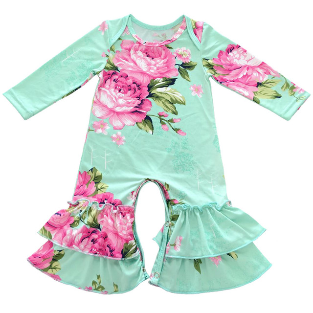 359dae7530db Aliexpress.com   Buy Latest different color Cotton Micro Fiber flower print  romper newborn baby Sleepers clothes ruffle Leg romper from Reliable ...