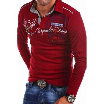 ZOGAA Polos hommes automne mode à manches longues Polo homme décontracté imprimé Slim chemise Polos hommes 4XL Para Hombre Polos