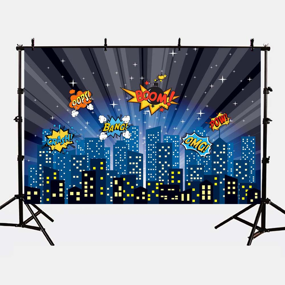 Mehofoto Glitter Night City Building Photo Backdrop for Photography Studio Superhero Theme Party Background Birthday G-158