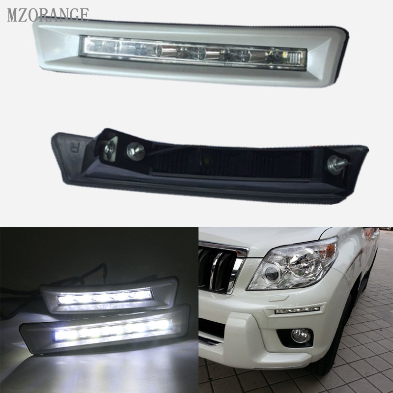 MZORANGE 1 Set 12v CAR LED DRL Daytime Running Light for Toyota Prado FJ150 LC150 2010 2011 2012 2013 Land Cruiser 2700/4000 dimmed light function car led drl daytime running lights with fog lamp hole for toyota prado land cruiser fj150 lc150 2010 2013