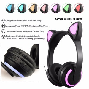Image 5 - JINSERTA Cat/Rabbit/Deer/Devil Ear Headphones 7 Color LED Flashing Glowing Wireless Bluetooth Headphone For Cosplay Kids Gaming