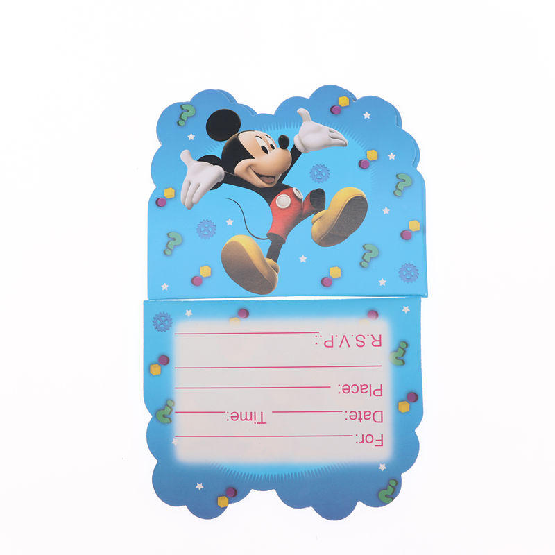 Us 1 5 36 Off Mickey 10pcs Set Party Invitation Card Cartoon Happy Birthday Party Christmas Decoration For Home In Cards Invitations From Home