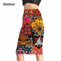 Qickitout Skirts Trending Style Women S Sexy 3D Print Skirts High Waist Splicing Color Totem Package