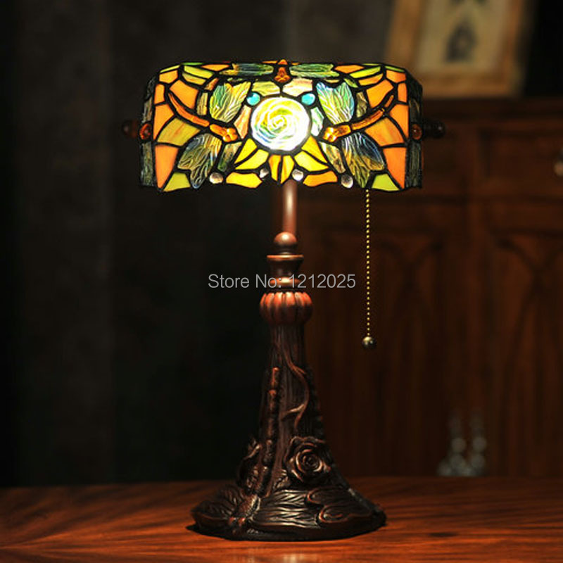 Antique Dragonfly Tiffany Style Bankers Lamp Reading Bedside Table
