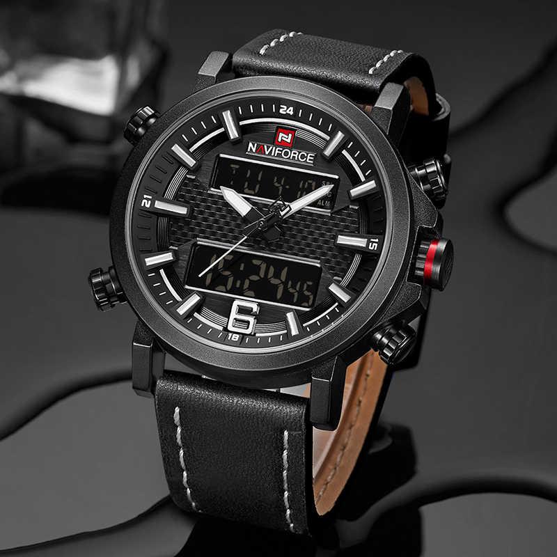 2019 NAVIFORCE nouveaux hommes de mode Sport montre hommes en cuir étanche montres à Quartz mâle Date horloge analogique LED Relogio Masculino