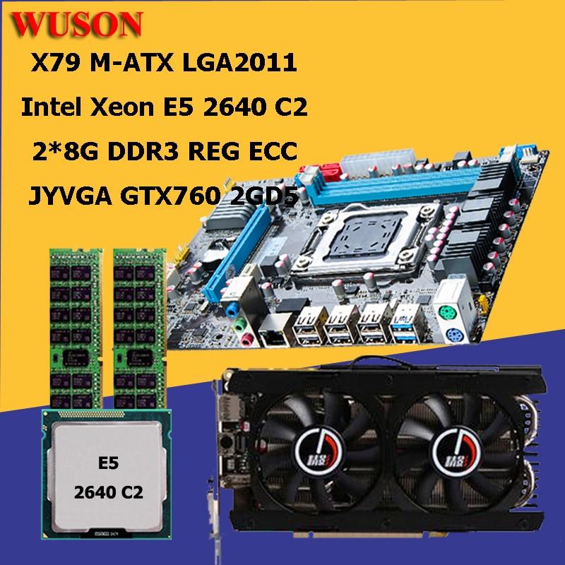 Brand New HUANAN X79 Motherboard CPU RAM Video Card Set Processor Xeon E5 2640 RAM 16G(2*8G) DDR3 REG ECC GTX760 2GD5 All Tested