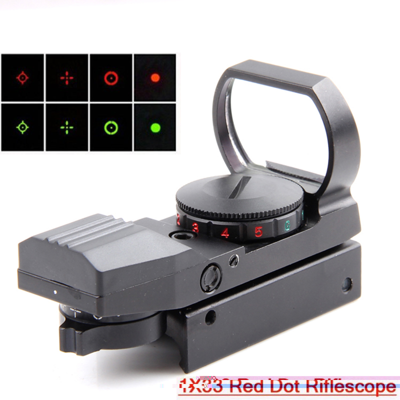 1x33 Tactical Fighter holographic 4 Reticle Merah / Hijau Dot HD101 lingkup penglihatan Hijau 20mm / 11mm Gratis pengiriman