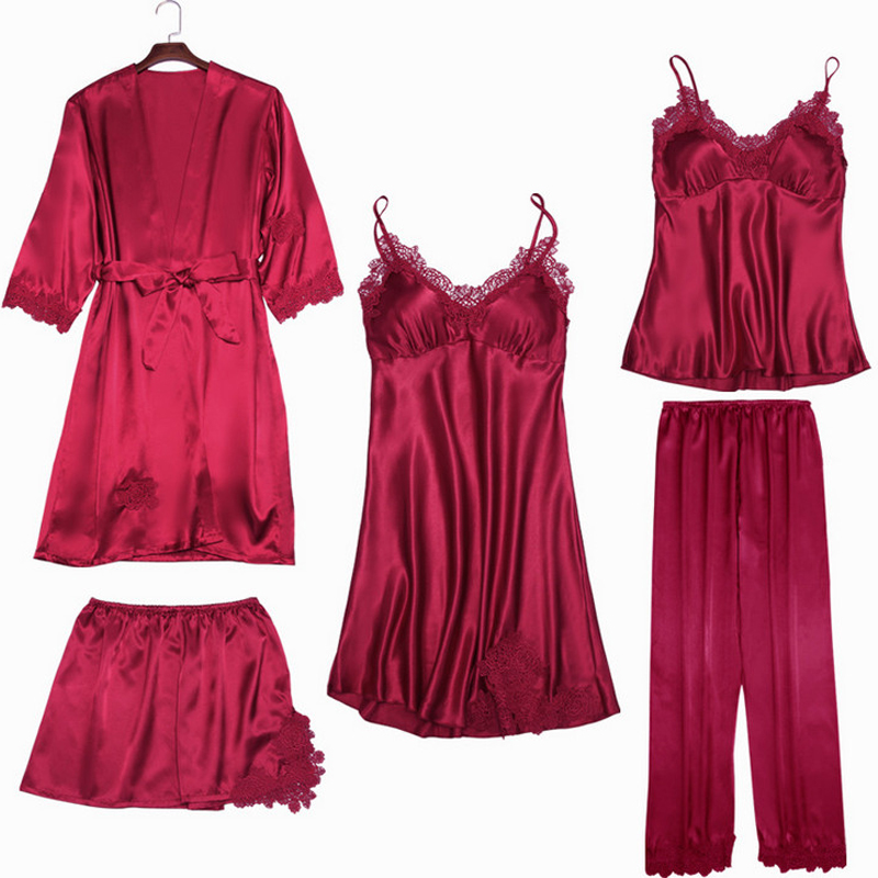 Satin Sleepwear Female with Chest Pads Sexy Women Pajamas Lace Slik Sle