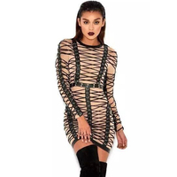 HIGH QUALITY Newest 2019 Runway Designer Party Dress Women's Long Sleeve Luxurious Lacing Rope Stretch Bodycon Dress